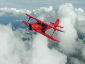 Beechcraft Staggerwing in Flight taken in 2005
