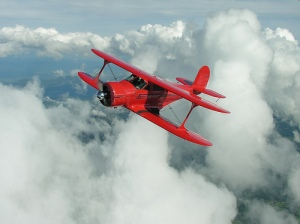 Beechcraft Staggerwing in Flight taken in 2005